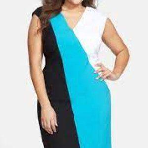 Calvin Klein Colorblock Plus Size Sheath Dress
